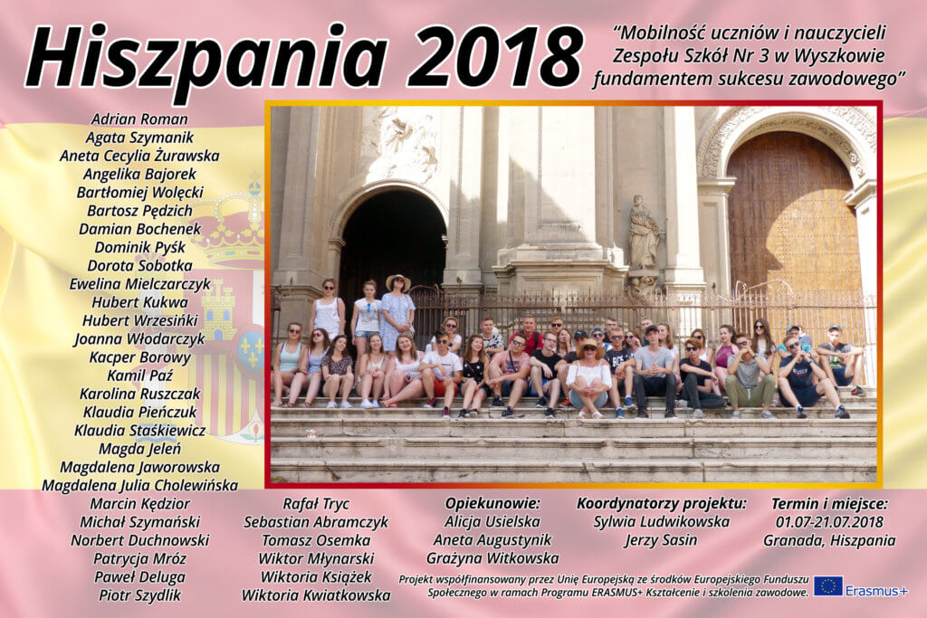 Staże uczniów i wyjazd szkoleniowy nauczycieli ZS3 - Hiszpania 2018